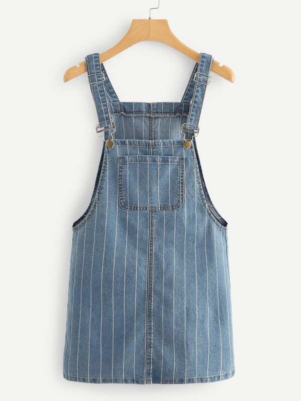 Striped Pocket Front Denim Overall Dress
