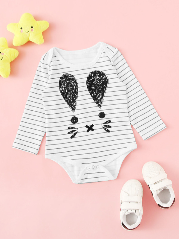 Baby Cartoon Print Striped Popper Jumpsuit