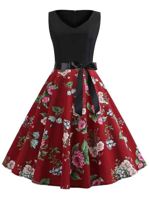 50s Floral Print Belted Dress