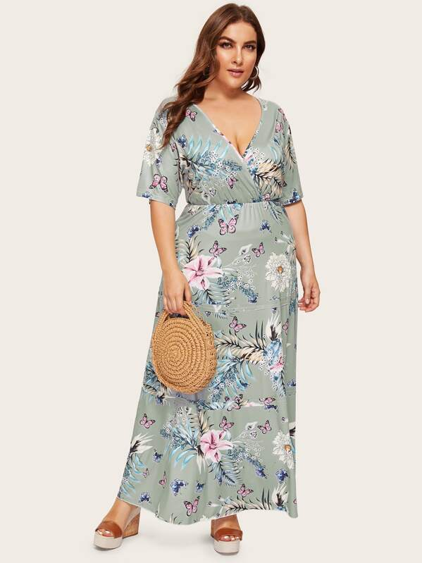 Plus Floral Print Deep V-neck Dress