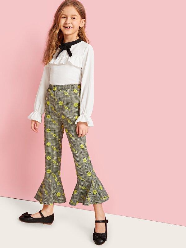 Girls Bow Detail Ruffle Top & Mixed Print Flare Pants Set, Anna C