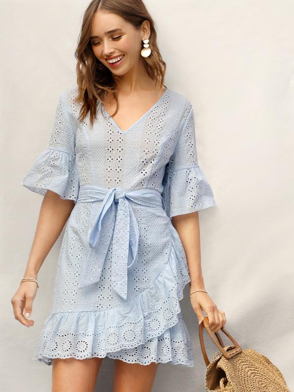 Bell Sleeve Pephem Belted Wrap Schiffy Dress, Blue, Carolina Sanchez