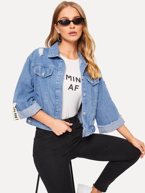 Ripped Single Breasted Back Denim Jacket