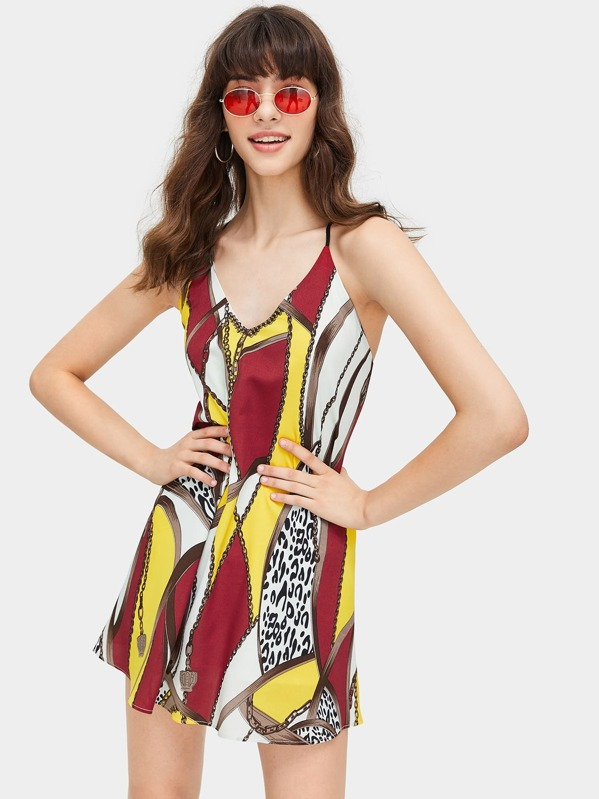 Chain And Leopard Print Cami Dress, Anna.B