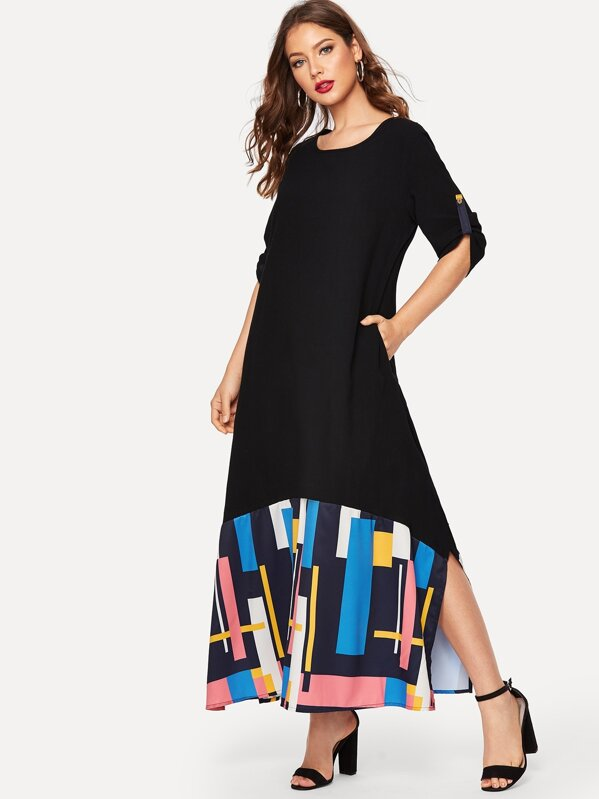 Colorful Stripe Split-Side Roll Up Sleeve Longline Dress, Black, Debi Cruz