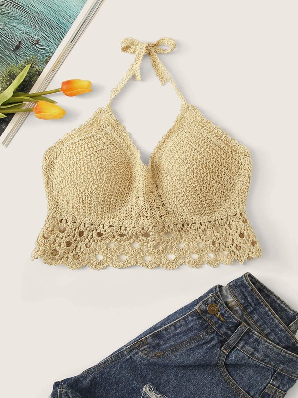 Hollow Out Crochet Knot Back Halter Top, null