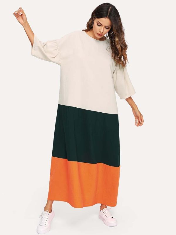 Drop Shoulder Color Block Maxi Dress