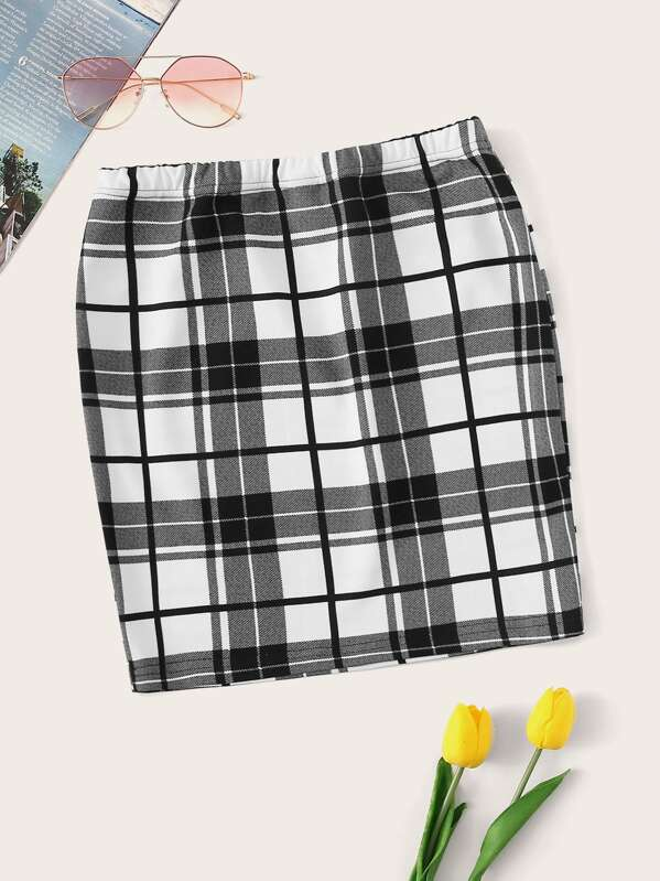 Elastic Waist Plaid Skirt
