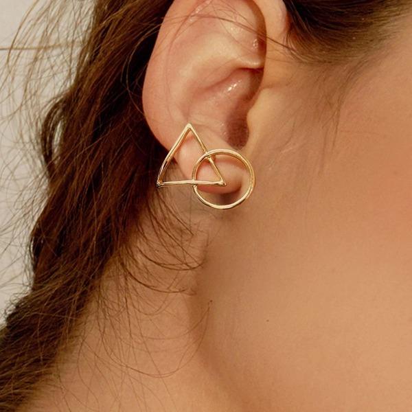 Triangle & Circle Stud Earrings 1pair