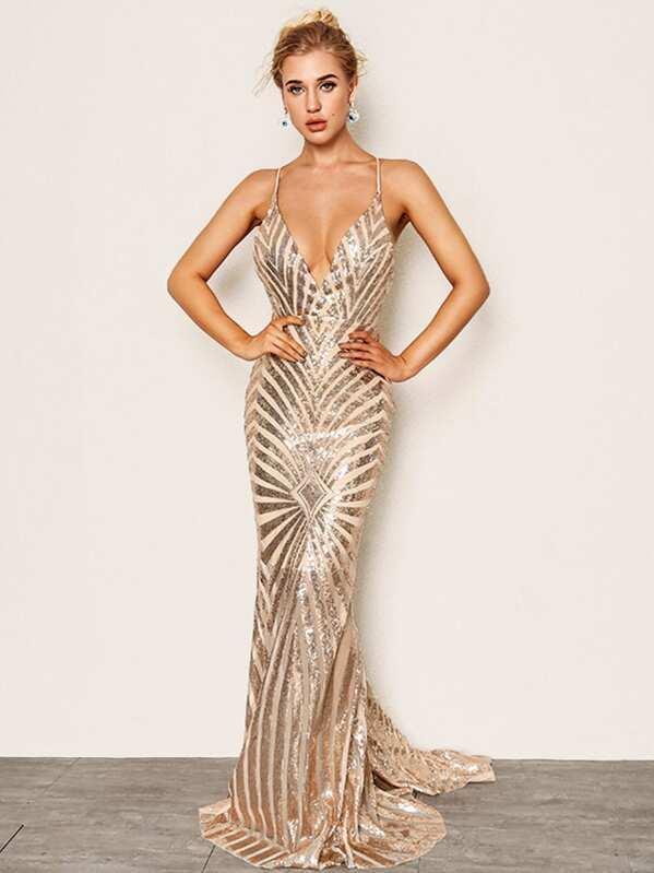 Joyfunear Crisscross Open Back Fishtail Metallic Sequin Dress