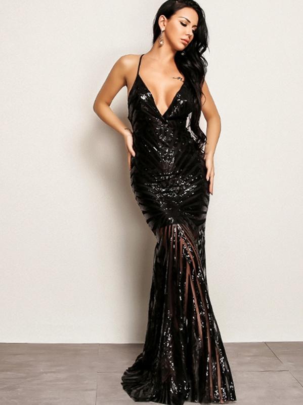 Joyfunear Crisscross Open Back Fishtail Plunging Sequin Dress