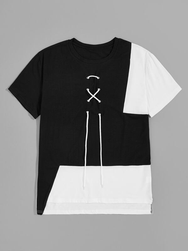 Men Cut And Sew Lace-up Front Tee