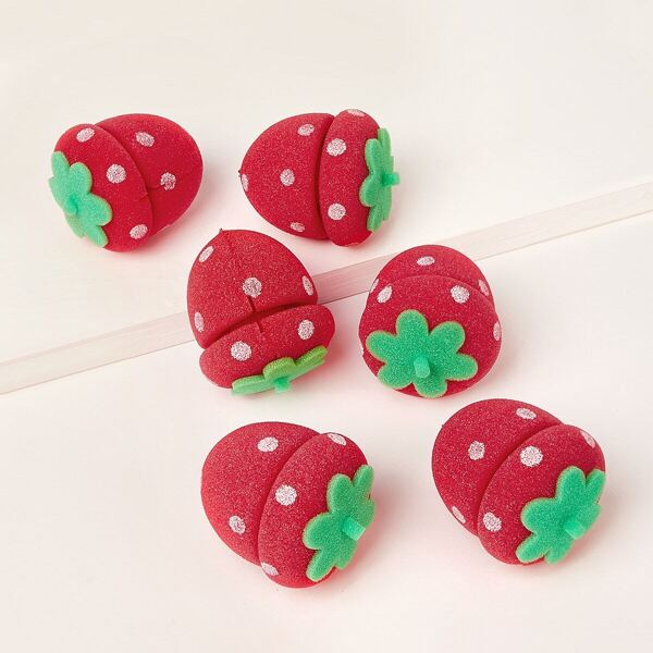 Strawberry Shaped Hair Care Roller Set 6pack
