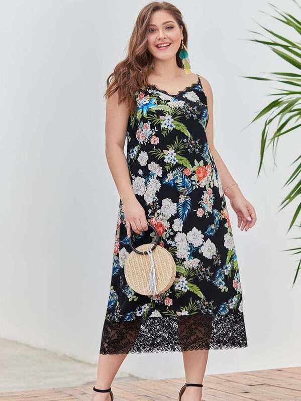 Plus Contrast Lace Floral Print Cami Dress