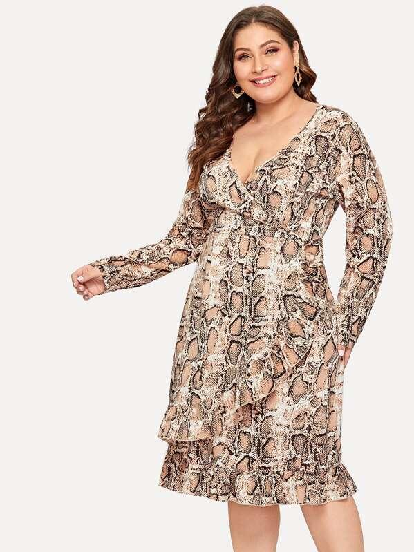 Plus Surplice Front Snake Print Ruffle Hem Dress, Carol