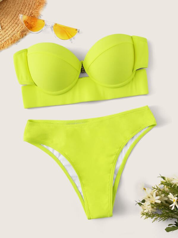 Neon Lime Underwire Bustier Top With High Leg Bikini Set