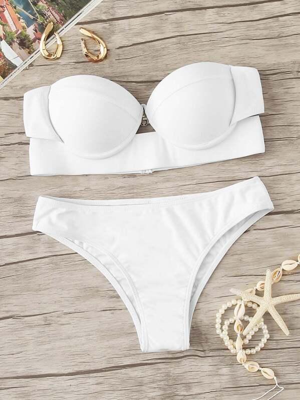 Underwire Bustier Top With High Leg Bikini Set