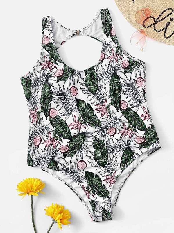 Plus Cut-out Back Tropical One Piece Swimsuit, Multicolor