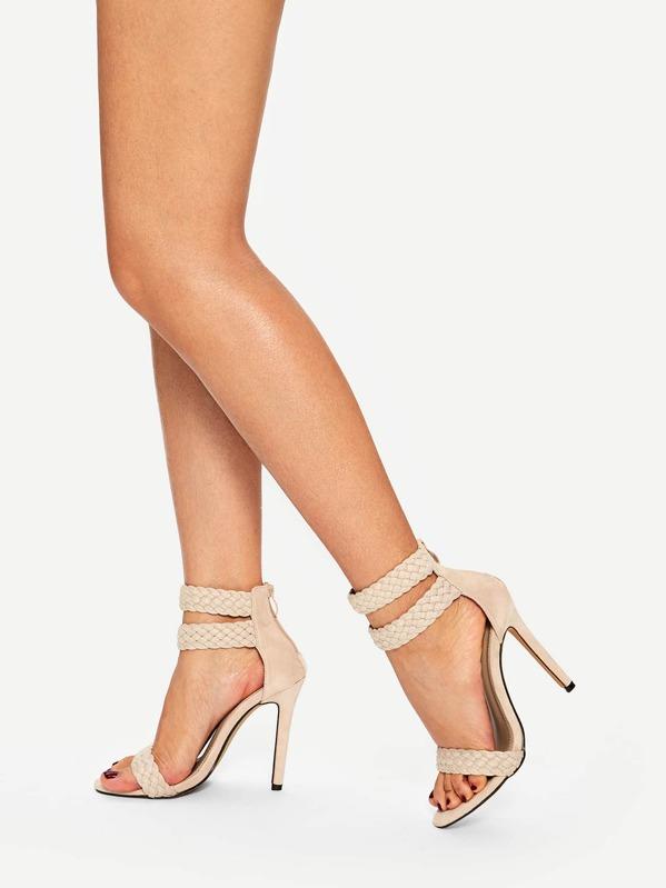 Плетеные туфли на шпильках, Абрикосовые