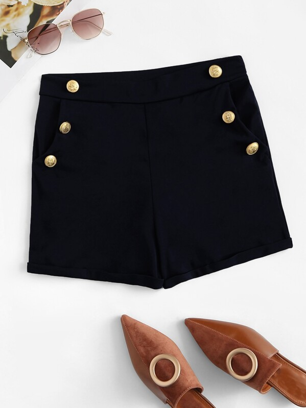 Double Breasted Zip Side Shorts, null