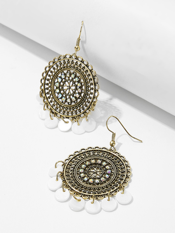 Disc Detail Hollow Round Drop Earrings 1pair, null