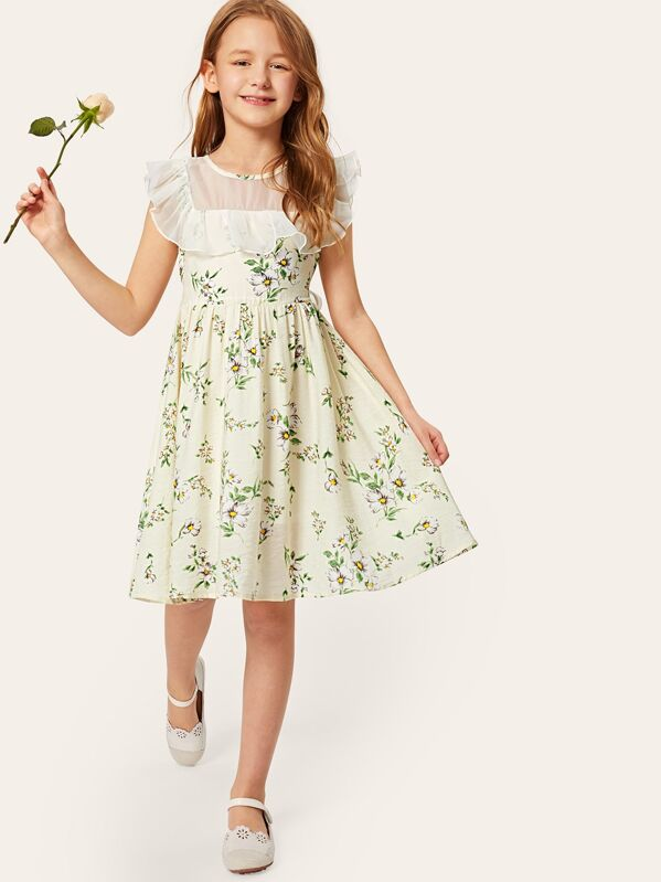 Girls Ruffle Mesh Yoke Floral Dress
