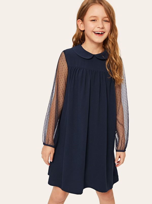 Girls Peter Pan Collar Mesh Sleeve Tunic Dress