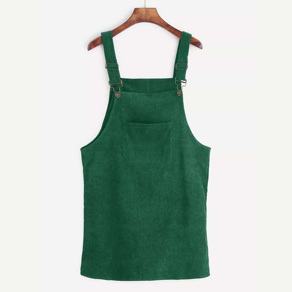 Front Pocket Corduroy Overall Dress, Green