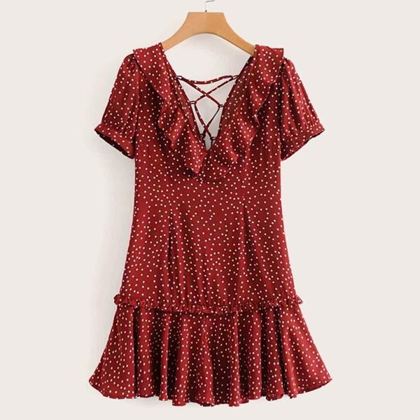 Lace-up Back Ruffle Trim Polka Dot Dress