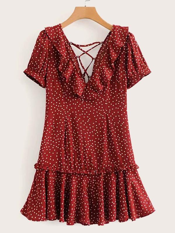 Lace-up Back Ruffle Trim Polka Dot Dress, null
