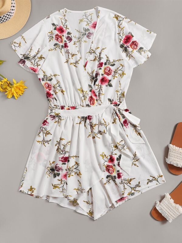 Plus Floral Print Belted V-neck Playsuit