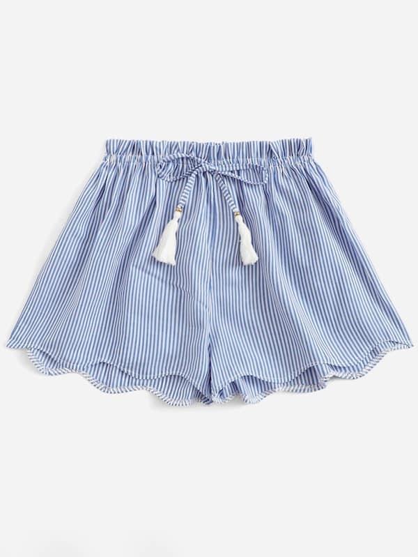 Plus Striped Drawstring Waist Scallop Hem Shorts, Blue
