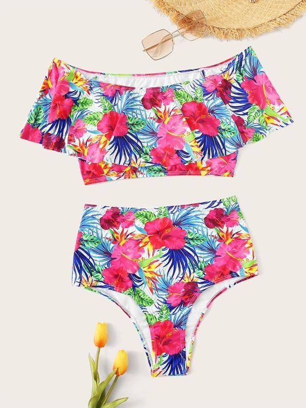 Random Floral Flounce Top With High Waist Bikini Set