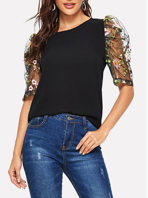 Contrast Mesh Sleeve Floral Embroidered Blouse