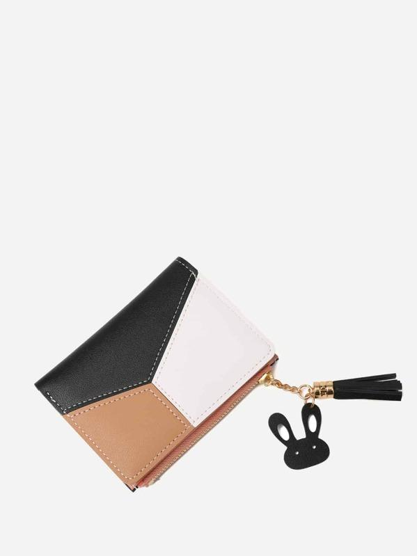 Tassel Decor Color Block Wallet, Multicolor