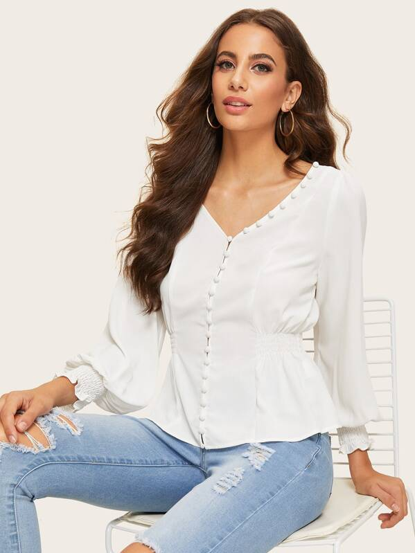 Shirred Panel Button Front Top, Mariana D
