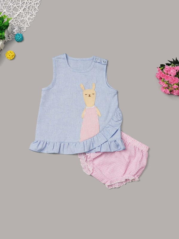 Baby Ruffle Hem Rabbit Patched Tank Top With Striped Shorts