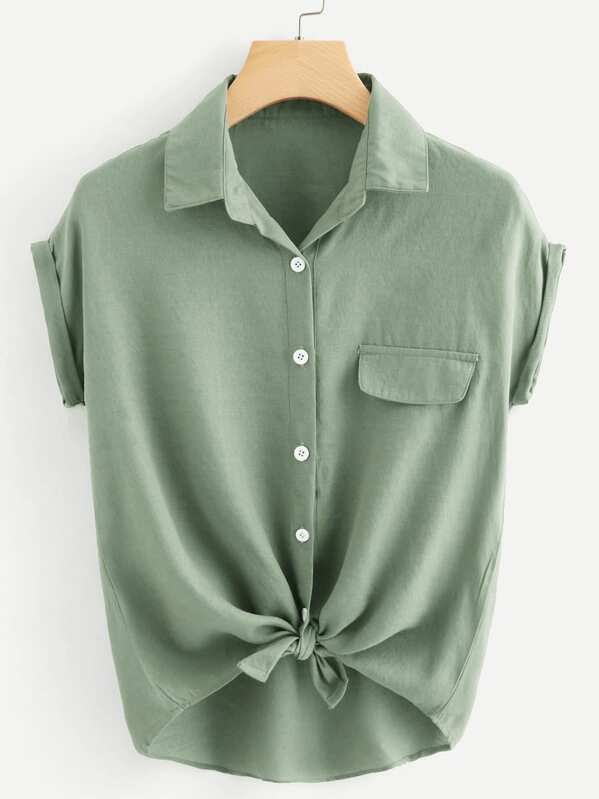 Plus Knot Hem Roll Up Sleeve Blouse, Army green