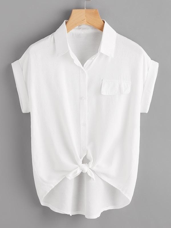 Plus Knot Hem Roll Up Sleeve Blouse, White