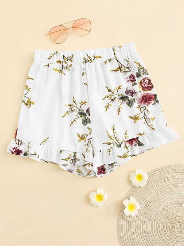 Elastic Waist Floral Print Ruffle Hem Shorts, null