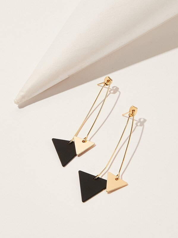 Double Triangle Drop Earrings 1pair, Multicolor