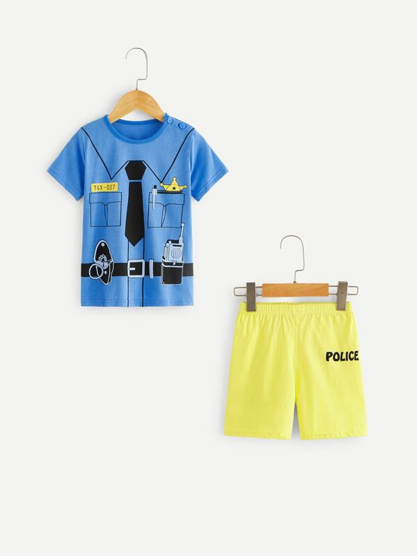 Toddler Boys Graphic Print Pajama Set
