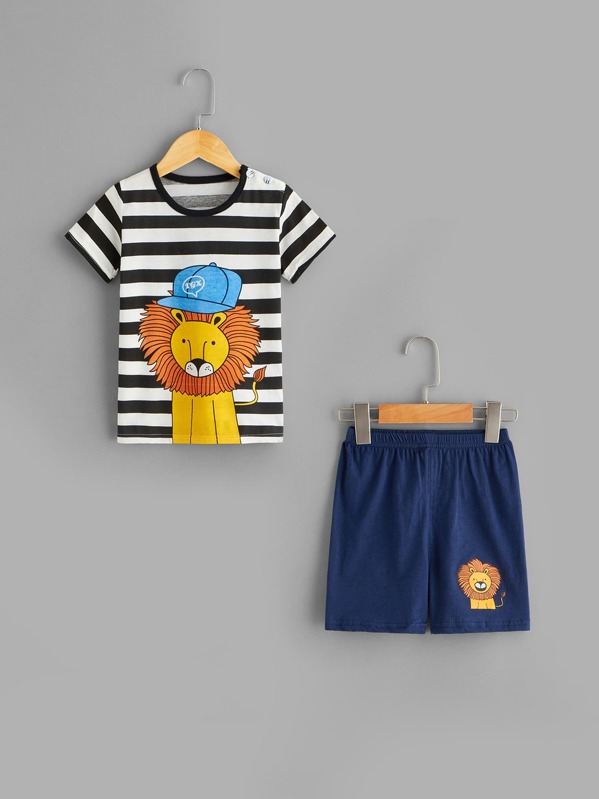 Toddler Boys Lion Print Striped Pajama Set, Multicolor