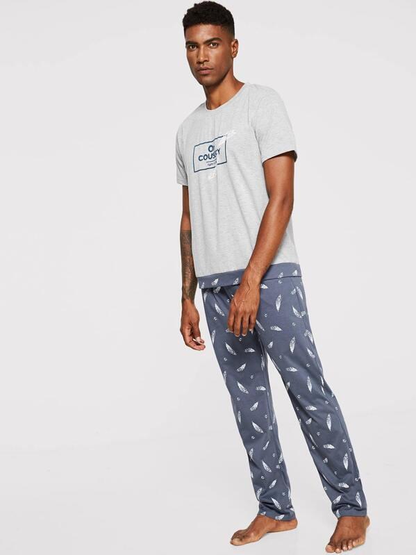 Men Feather & Letter Print Pajama Set