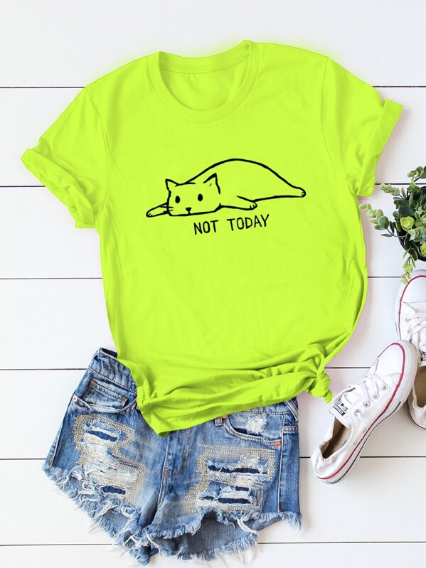 Neon Lime Cat And Letter Print Rolled Cuff Tee, null