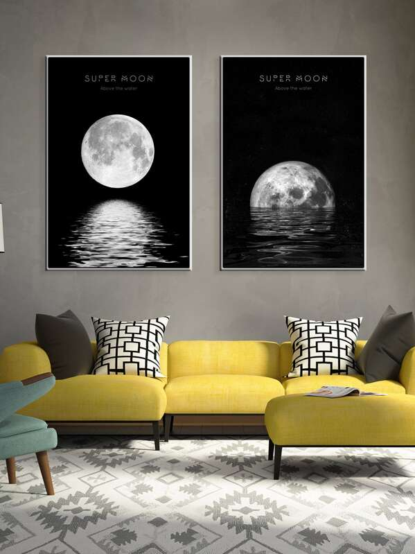 Moon Wall Art Print 1pair