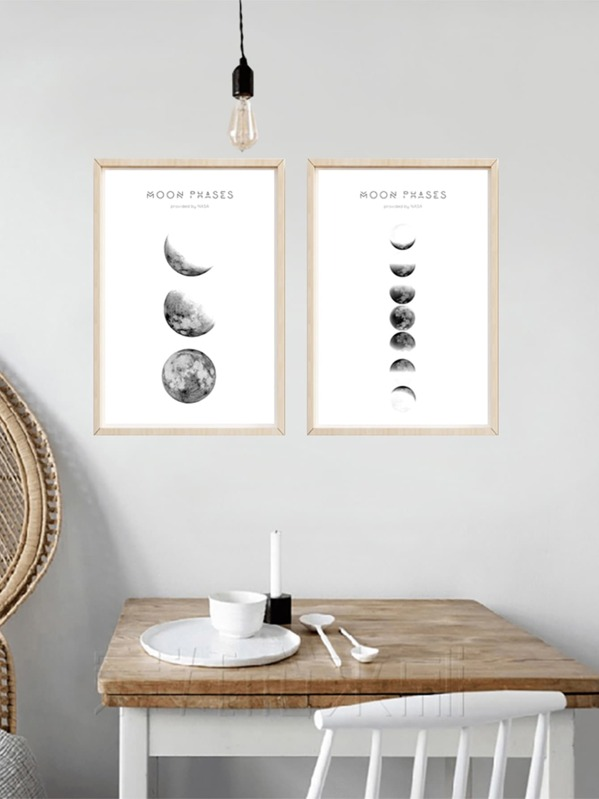 Moon Phase Wall Art Print 1pair