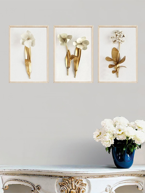 3D Flower Wall Art Print 3pcs