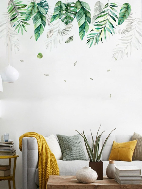 Leaf Print Wall Sticker 2pcs