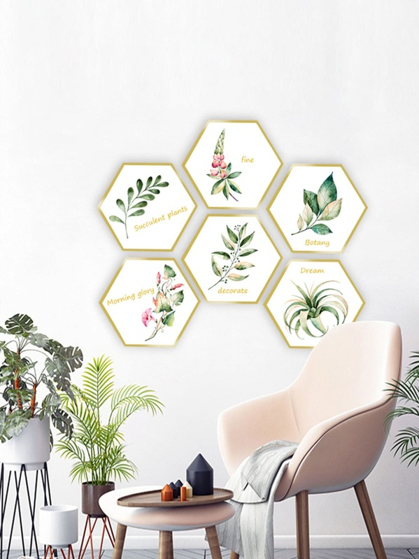 Plant Print Hexagon Wall Art 2pcs